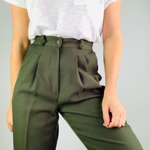 [Vintage] Olive High Rise Pleat Front Tapered Pant